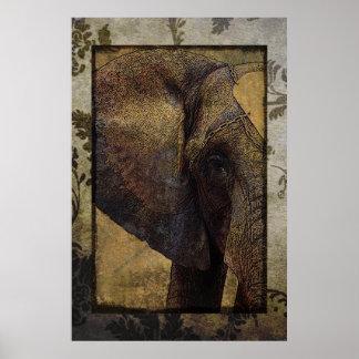 Elefante africano majestuoso del pergamino del Gru Poster