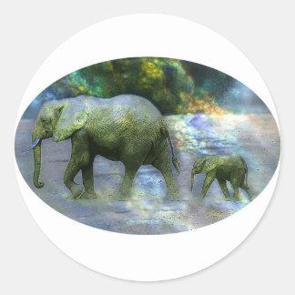 Elefante africano pegatina redonda