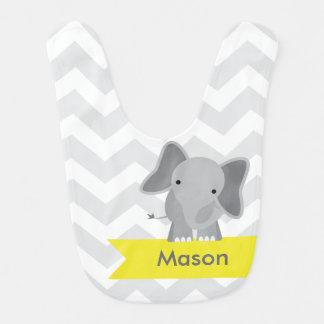 Elefante amarillo gris personalizado de Chevron Baberos De Bebé