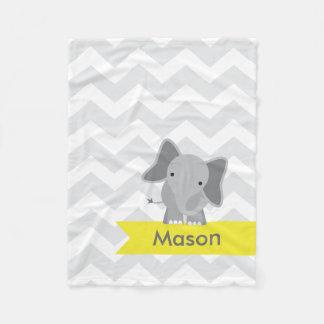 Elefante amarillo gris personalizado de Chevron Manta De Forro Polar
