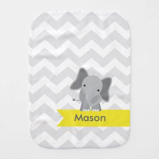 Elefante amarillo gris personalizado de Chevron Paños Para Bebé