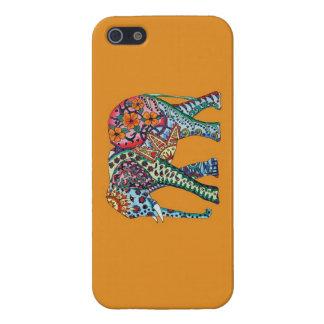 Elefante anaranjado de la acuarela iPhone 5 cárcasa