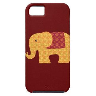 Elefante anaranjado lindo de la flor en rojo iPhone 5 funda