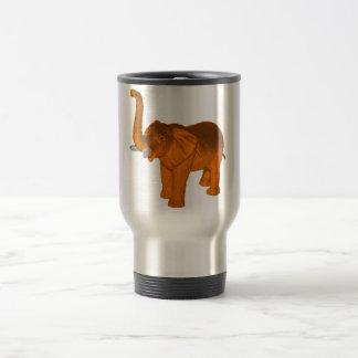 Elefante anaranjado taza de viaje