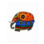 Elefante anaranjado y azul con las flores tarjeta postal