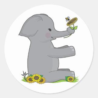 Elefante animal del alfabeto pegatina redonda