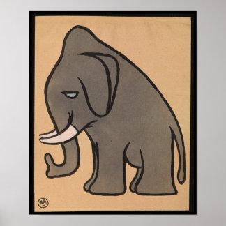 Elefante - anticuario, ejemplo de libro colorido póster