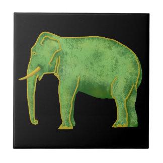 Elefante antiguo del oro y del jade azulejo cuadrado pequeño