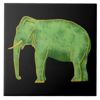 Elefante antiguo del oro y del jade azulejo cuadrado grande