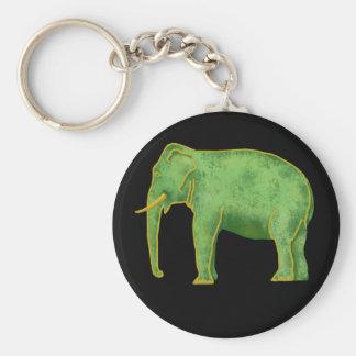 Elefante antiguo del oro y del jade llavero redondo tipo pin