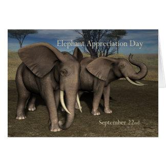 Elefante aprecio día tarjeta 22 de septiembre