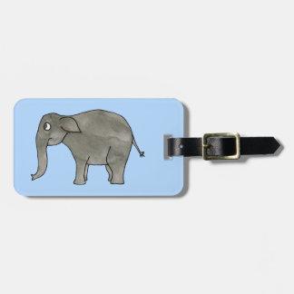 Elefante asiático, en azul claro. etiquetas bolsa