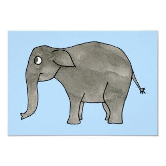 """Elefante asiático, en azul claro. invitación 3.5"""" x 5"""""""