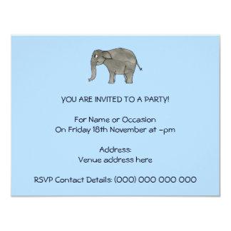 """Elefante asiático, en azul claro. invitación 4.25"""" x 5.5"""""""