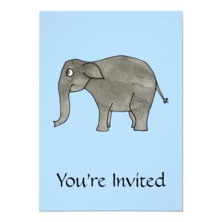 """Elefante asiático, en azul claro. invitación 5"""" x 7"""""""