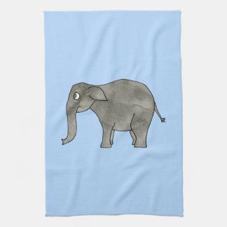 Elefante asiático, en azul claro. toalla de cocina