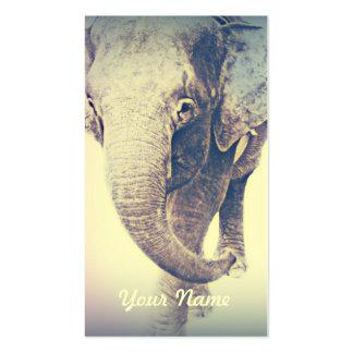 Elefante asiático en colores del vintage tarjetas de visita