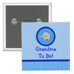 "Elefante azul ""abuela a ser"" botón de la fiesta de pin"