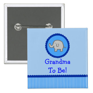 "Elefante azul ""abuela a ser"" botón de la fiesta de"