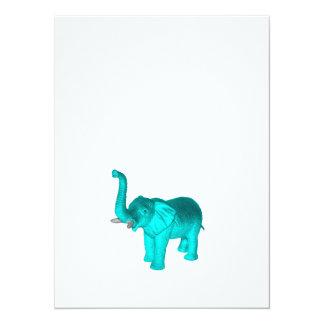 Elefante azul claro invitación 13,9 x 19,0 cm