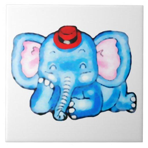 Elefante azul con el dibujo animado de Red Hat Tejas Cerámicas