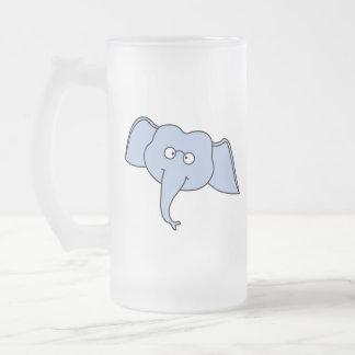 Elefante azul con los vidrios. Historieta Tazas