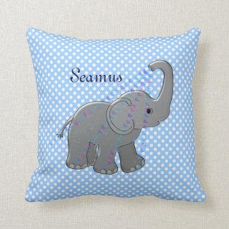 elefante azul de la fiesta de bienvenida al bebé almohada