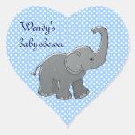 elefante azul de la fiesta de bienvenida al bebé calcomania corazon personalizadas