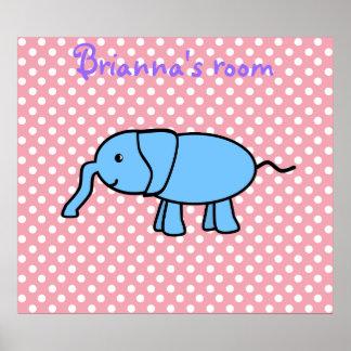 Elefante azul en el poster rosado de los polkadots