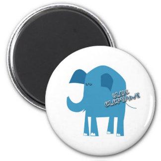 Elefante azul imán redondo 5 cm