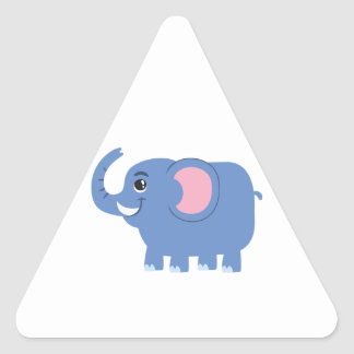 Elefante azul lindo del dibujo animado pegatina triangular