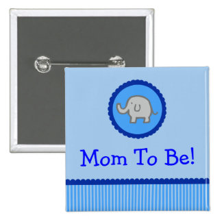 "Elefante azul ""mamá a ser"" botón de la fiesta de b"
