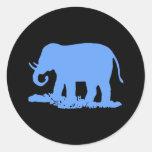 Elefante azul pegatinas redondas