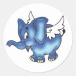 Elefante azul que vuela etiquetas redondas
