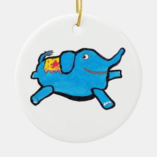 Elefante azul tonto ornamentos de reyes