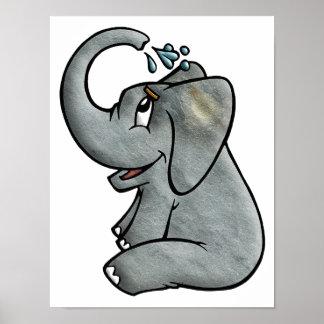 Elefante Bathtime Póster