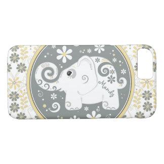 Elefante blanco amarillo gris floral funda iPhone 7