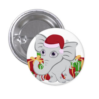 Elefante blanco del bebé en el gorra de Santa con