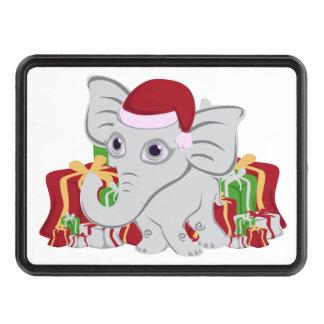 Elefante blanco del bebé en el gorra de Santa con Tapa De Remolque