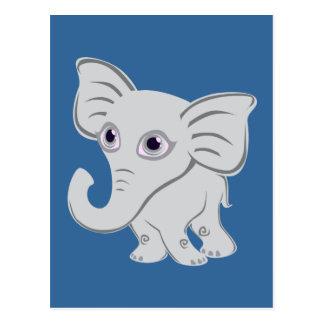 Elefante blanco del bebé lindo con el tronco que postal
