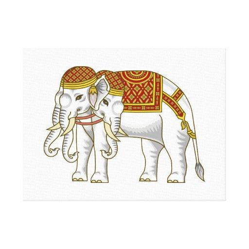 Elefante blanco tailandés de Erawan Lona Envuelta Para Galerías