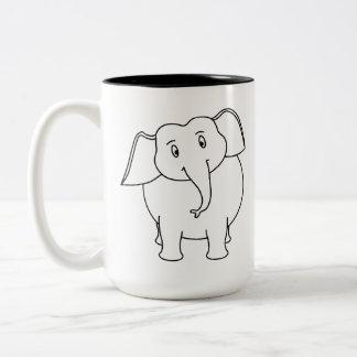 Elefante blanco taza de dos tonos