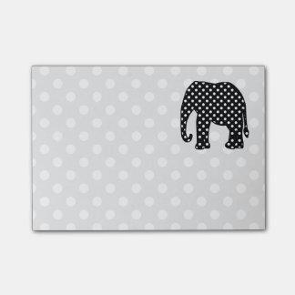 Elefante blanco y negro de los lunares post-it nota