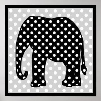 Elefante blanco y negro de los lunares posters