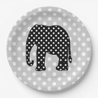 Elefante blanco y negro de los lunares plato de papel de 9 pulgadas