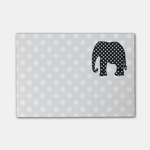 Elefante blanco y negro de los lunares nota post-it