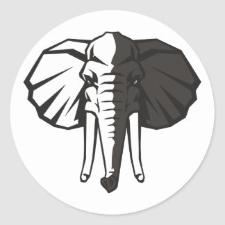Elefante blanco y negro etiqueta