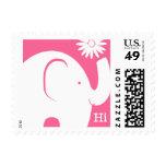 Elefante blanco y rosado con la margarita sello