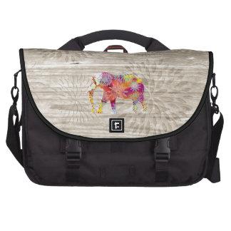 Elefante caprichoso lindo en el diseño de madera bolsas de portatil
