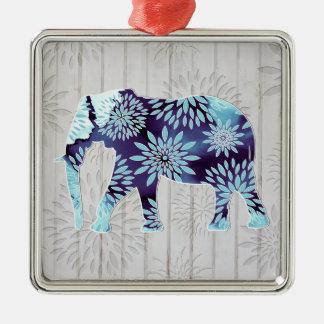 Elefante caprichoso lindo en el diseño de madera adorno cuadrado plateado